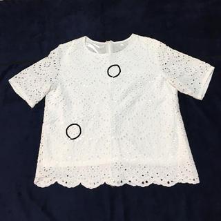 ジーユー(GU)のGU  カットソー  レース生地(カットソー(半袖/袖なし))