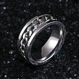 14号*チェーンライン*ステンレスリング指輪*メンズ*シルバー×シルバー(リング(指輪))