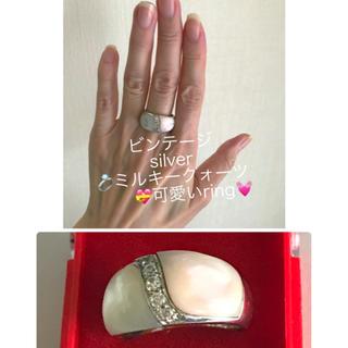 ミルキークォーツ指輪( pink&White コンビ silver)存在感あり(リング(指輪))