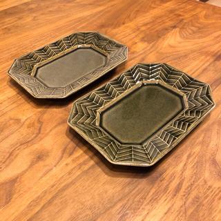新品未使用#現在廃盤【よしざわ窯】ベルベットグリーン 長方隅切皿 2枚(食器)