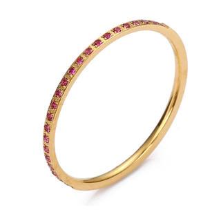 ジルコニア、10号ピンク ステンレスゴールドリング import(リング(指輪))