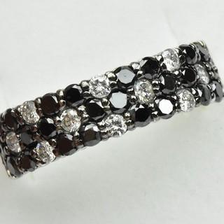 K18WG パヴェ ブラックダイヤモンドリング 12号 指輪  (リング(指輪))