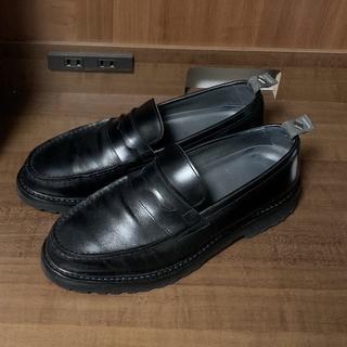ナノユニバース(nano・universe)の美品 定価5万円 WH ローファー ブラック 7.5 革靴 ダブルエイチ 靴(ドレス/ビジネス)