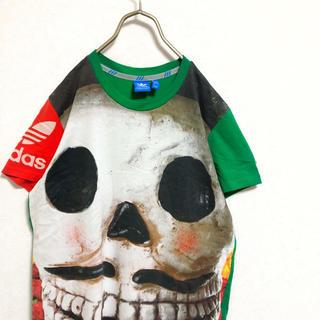 アディダス(adidas)の【廃盤】adidas スカルモチーフ プリントTシャツ メンズ M 古着(Tシャツ/カットソー(半袖/袖なし))