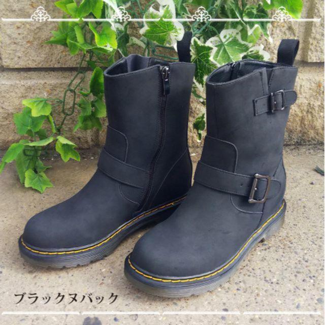 脱着しやすいサイドジップ! ショートエンジニアヒールアップブーツ レディースの靴/シューズ(ブーツ)の商品写真