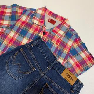 エドウィン(EDWIN)のEDWIN Levis 120 2点セット デニム スカート チェック シャツ(Tシャツ/カットソー)