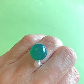 グリーンアゲート(瑪瑙) と 本真珠のリング(リング(指輪))
