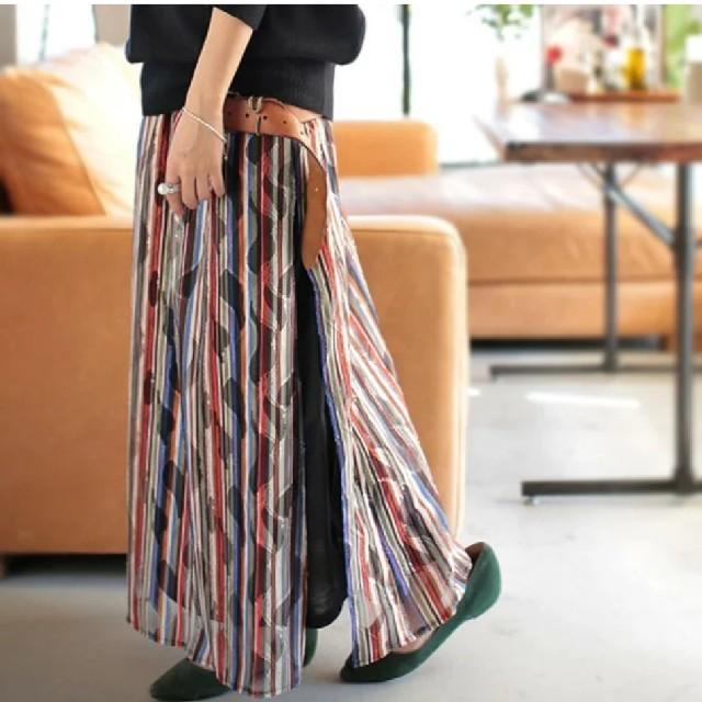 antiqua(アンティカ)の週末値下げ。アンティカ レトロストライプレーススカート レディースのスカート(ロングスカート)の商品写真