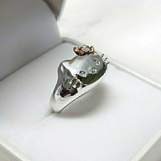 ハローキティ(ハローキティ)のK18 SV925 キティちゃんダイヤモンドリング(リング(指輪))