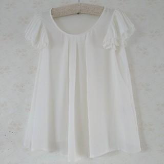 シマムラ(しまむら)の白 ブラウス(シャツ/ブラウス(半袖/袖なし))
