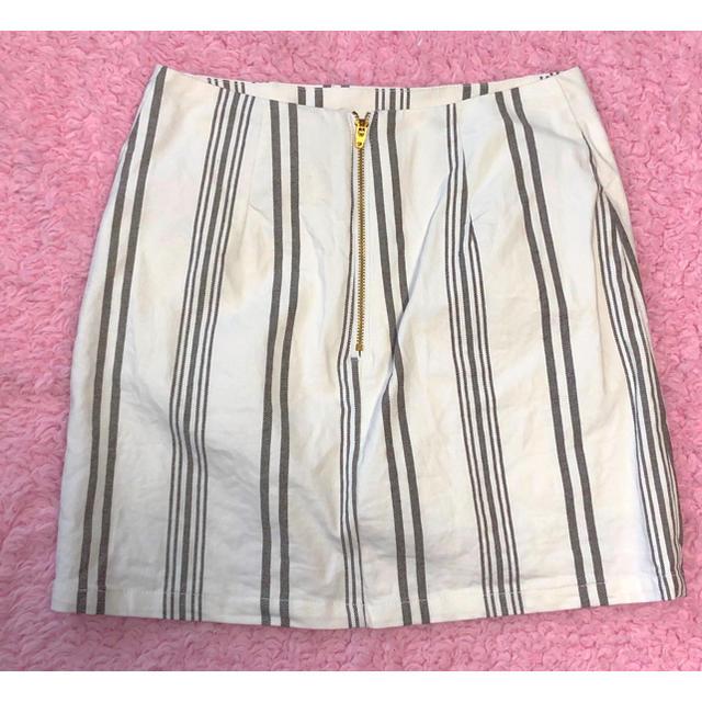 MERCURYDUO(マーキュリーデュオ)のMERCURY DUO タイトミニスカート 白 ストライプ レディースのスカート(ミニスカート)の商品写真