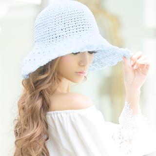 エミリアウィズ(EmiriaWiz)のクロシュ編みハット ホワイト(麦わら帽子/ストローハット)