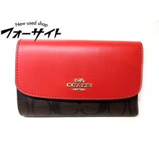 コーチ(COACH)のコーチ■F32485 シグネチャー レッド 3つ折り コンパクト 財布(財布)