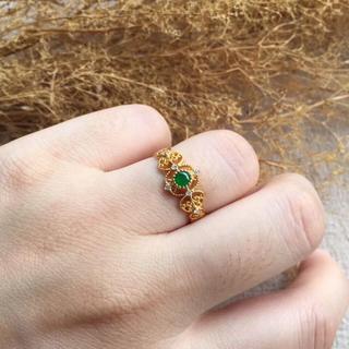335 k18金リング ゴールド レース 翡翠リング ダイヤモンドリング 指輪(リング(指輪))
