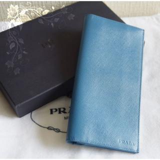 on sale 6e272 151c9 新品★プラダ 薄型折り長財布♡サフィアーノレザー ブルー 青 スリム PRADA