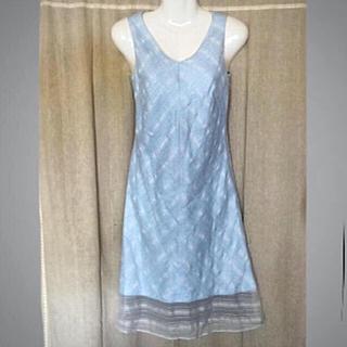 ヨンドシー(4℃)の4°C❤️裾レース 夏色 アイスブルーワンピース(ひざ丈ワンピース)