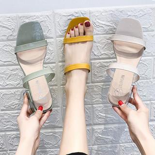 ♥ ミュール サンダル クラシック ローヒール 光沢素材 スリッパ 美脚 (サンダル)