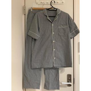 ジーユー(GU)のGU パジャマ2点セット グレー メンズ 半袖 夏 綿 コットン100%(パジャマ)