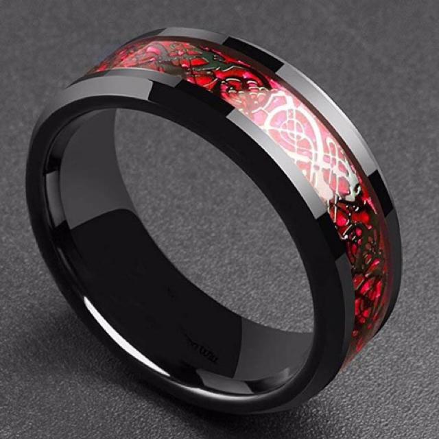 ステンレスリング レッド 流紋柄 メンズのアクセサリー(リング(指輪))の商品写真