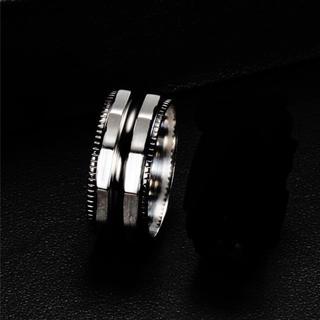 黒銀 ステンレスリング(リング(指輪))