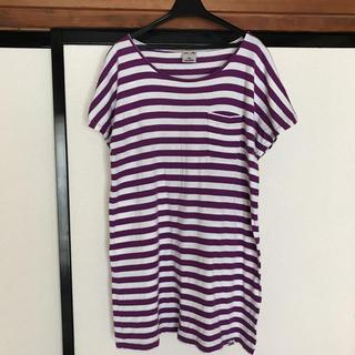 エックスガール(X-girl)のX-girl ボーダー Tシャツワンピ サイズ1(Tシャツ(半袖/袖なし))