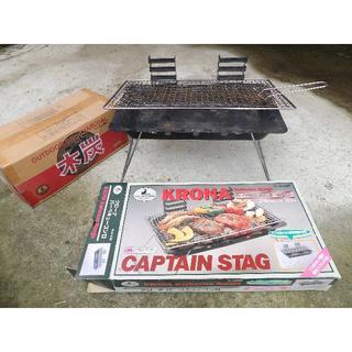 キャプテンスタッグ(CAPTAIN STAG)の値下げ‼️バーベキューコンロ+木炭3kg(ストーブ/コンロ)