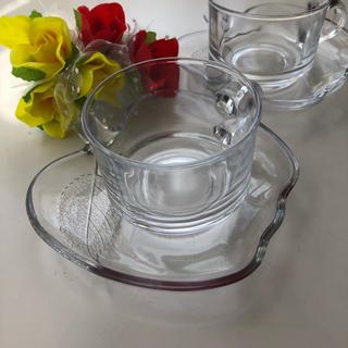 レトロ  りんご  ガラス  カップ&ソーサー  昭和  2客(ガラス)