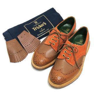 トリッカーズ(Trickers)の新品 Tricker's シューキルト付 バイカラー ウィングチップ シューズ(ドレス/ビジネス)