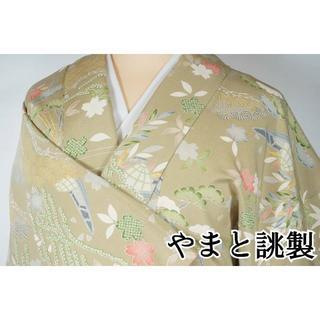 やまと誂製 吉祥文 松竹桜 小紋 正絹 薄柳色 黄緑 280 キモノリワ(着物)