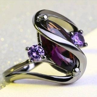 ブラックリングに紫のストーンデザインリング17号(リング(指輪))