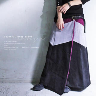 アンティカ(antiqua)の新品同様 antiqua 配色ラップスカート ブラックベース Lサイズ(ロングスカート)