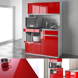 お洒落☆大型レンジ対応!鏡面システムキッチンボード『120cm』食器棚 レンジ台(キッチン収納)
