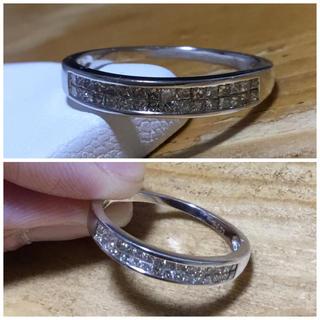プリンセスカット✨ダイヤモンドリング ホワイトゴールド 指輪 約20号(リング(指輪))