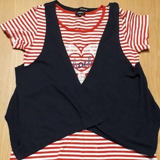 オリンカリ(OLLINKARI)のボレロ付き ストライプTシャツ 150cm OLLINKARI(Tシャツ/カットソー)