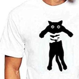 猫柄 白Tシャツ 4L 中古 ラッシュガードにも使えます(Tシャツ/カットソー(半袖/袖なし))