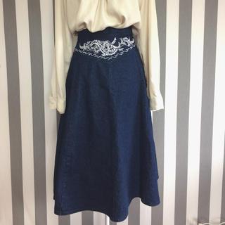 グリモワール(Grimoire)のビンテージ レトロ 刺繍 デニムスカート(ひざ丈スカート)