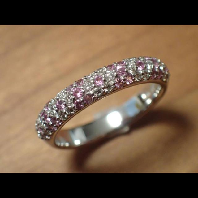 PonteVecchio(ポンテヴェキオ)のポンテヴェキオ K18WG ダイヤモンド ピンクサファイヤ パヴェ リング  レディースのアクセサリー(リング(指輪))の商品写真