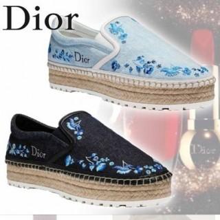 クリスチャンディオール(Christian Dior)のディオール レア 美品 18ss ロゴ 刺繍 エスパドリーユ(サンダル)