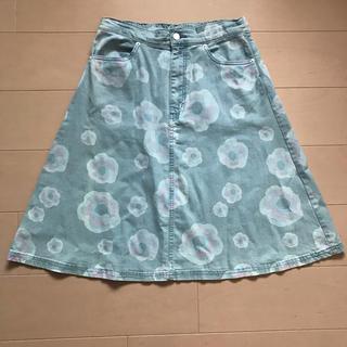 ツモリチサト(TSUMORI CHISATO)のツモリチサト フラワーデニム スカート(ひざ丈スカート)