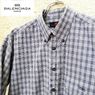 バレンシアガ(Balenciaga)のバレンシアガ チェックシャツ 半袖シャツ ボタンダウンシャツ 高級 美品 日本製(シャツ)