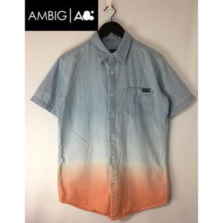 アンビギュアス(AMBIGUOUS)のAMBIG アンビギュアス 半袖ボタンダウンシャツ ブルー×オレンジ M(シャツ)