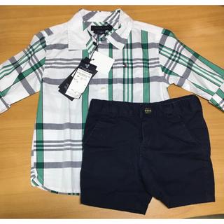 トミーヒルフィガー(TOMMY HILFIGER)のトミーフィルフィガー90size チェックシャツ・ハーフパンツセット★(Tシャツ/カットソー)