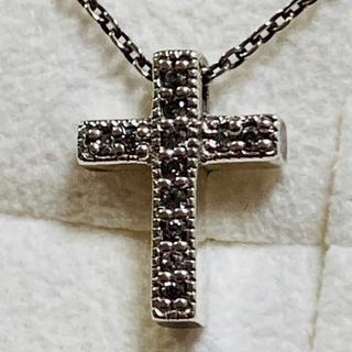 アガット(agete)の美品 アガット クロスペンダント ダイヤモンド0.12ct・シルバー 刻印有(ネックレス)