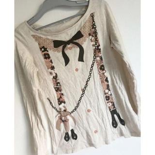 ユニクロ(UNIQLO)のUNIQLO リボンプリントTシャツ(Tシャツ/カットソー(半袖/袖なし))