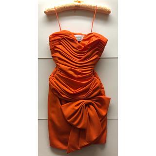 official photos ce3a3 9f119 【美品】ディオール Dior パーティー ドレス ワンピース オレンジ リボン