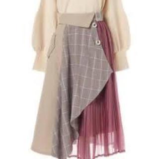 レディアゼル(REDYAZEL)のレイシーチェックMIXミディ丈スカート (ピンク)(ひざ丈スカート)