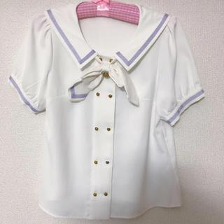 アマベル(Amavel)のセーラー襟 リボン付きブラウス(シャツ/ブラウス(半袖/袖なし))