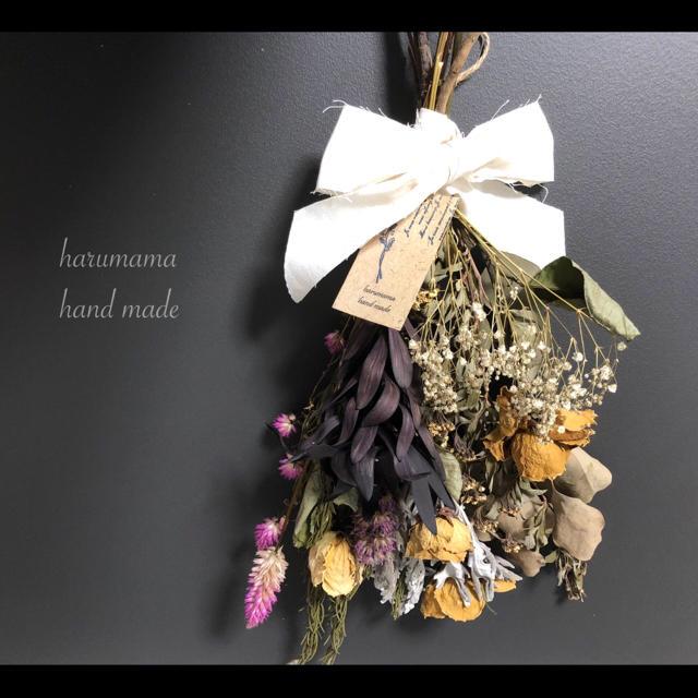 No.94  バラとブラックリューカデンドロンのスワッグ꧂ ハンドメイドのフラワー/ガーデン(ドライフラワー)の商品写真