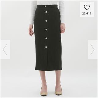 ジーユー(GU)のgu♡リブナロースカート♡黒(ひざ丈スカート)
