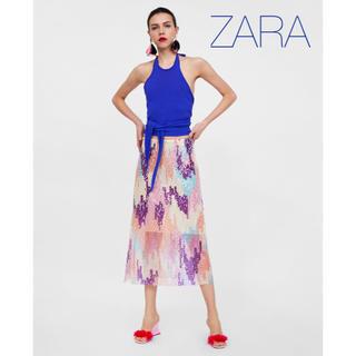 ザラ(ZARA)のsale!新品タグ付☆ZARAザラ☆水彩画風スパンコールニットスカート(ひざ丈スカート)